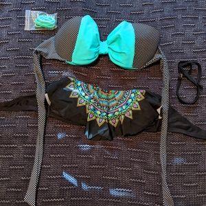 Two bandeau bikini tops
